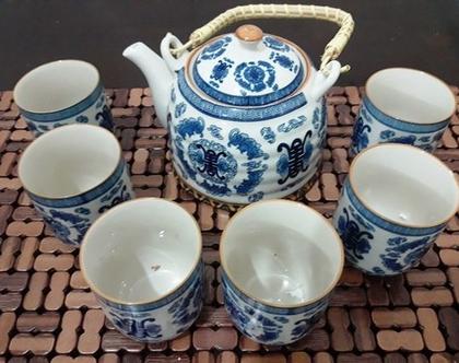 קומקום קרמיקה סיני עם 6 כוסות - צבע כחול