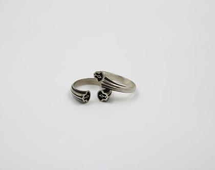 טבעת כסף מושחר פתוחה