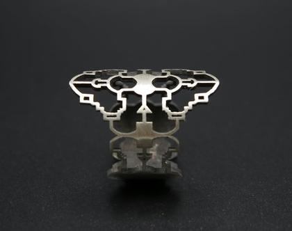 טבעת כסף גאומטרית