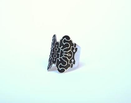 טבעת כסף מושחר. טבעת גאומטרית