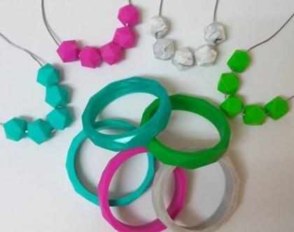 סט מתנה צמיד ושרשרת סיליקון מבחר צבעים