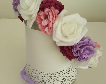 זר לראש | משי | זר פרחים | עיטור ראש| כתר | חגיגה| יום הולדת| קישוט |לבן ורוד בורדו| מלאכותי | ורדים | זר ראש | שושבינה | מסיבת רווקות |