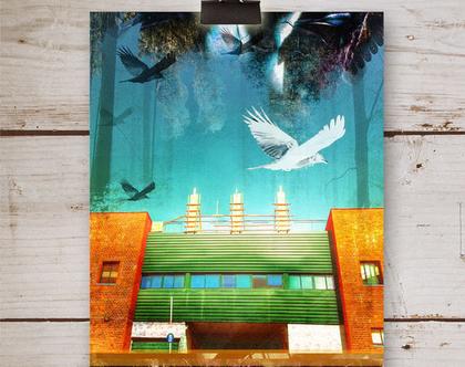 הדפס אמנות למיסגור | אמנות מקורית | פוסטר למיסגור | קולאז' צילומי | אמנות דיגיטלית | צילום מעובד | נוף אורבני ישראלי עם ציפורים
