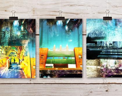 סט תמונות למיסגור | 3 הדפסים | נוף אורבני צבעוני | סט תמונות | קולאז' דיגיטלי אמנותי | תמונות לבית | קיר תמונות | קיר גלריה | סטיילינג לבית
