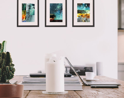 סט תמונות | 3 הדפסים למיסגור | נוף אורבני עם צלליות | קולאז' דיגיטלי אמנותי | תמונות לבית | קיר תמונות | קיר גלריה | סטיילינג לבית | A4