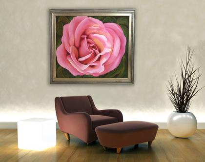 תמונת שמן מקורית לקיר - ורד גדול