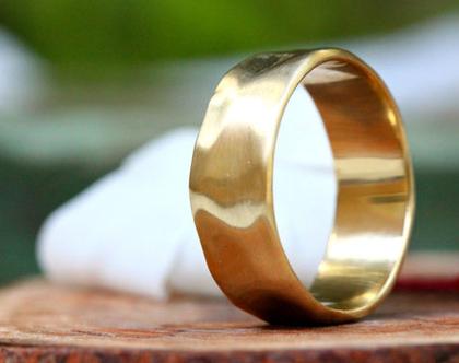 טבעת נישואין לגבר בזהב 14K, טבעת נישואין קלאסית, טבעת נישואין רחבה, טבעת נישואין דמוית קטיפה, טבעת נישואין זהב צהוב, טבעת זהב לגבר