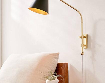 מנורת קיר רטרו זהובה, מנורת פליז, מנורת לילה זהובה, מנורת קיר שחורה