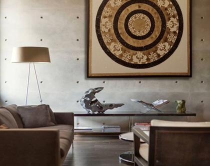 """""""קונטה"""" - תמונה אבסטרקטית מיוחדת עם שברי זכוכית וטקסטורות מובלטות"""