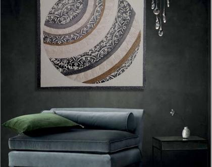 """""""אלפרדו"""" - תמונה אבסטרקטית מיוחדת עם שברי זכוכית וטקסטורות מובלטות..."""