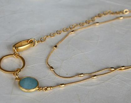 שרשרת זהב ארוכה עם אלמנטים מוזהבים בשילוב אבן ג'ייד כחולה / N-126
