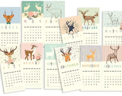 לוח שנה 2020 | דגם איילים | לוח שנה מקורי, מעוצב, אישי