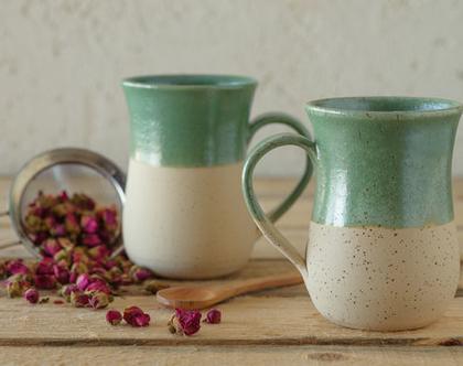 זוג ספלים מקרמיקה, ספלים לקפה, ספלים לתה, חליטת תה, סט ספלים מקרמיקה, ספלים לשתייה חמה, כוסות לשתיה חמה, זוג ספלים עם ידית, מיוצר לפי הזמנה