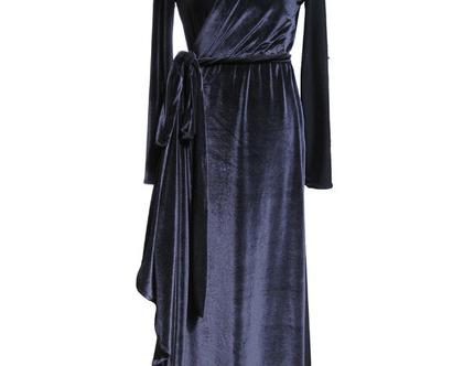 שמלת מקסי מעטפה קטיפה שחורה