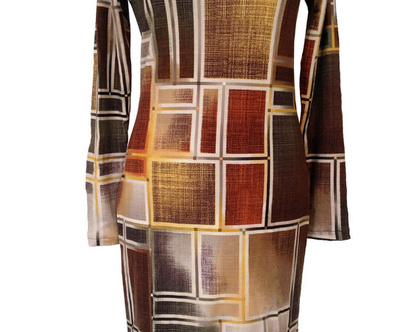שמלה חורפית משבצות חומה