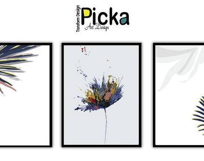 סט 3 תמונות - עלים וצבעים