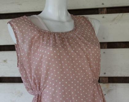 אבישג ארבל-שמלת הריון ורודה עם נקודות