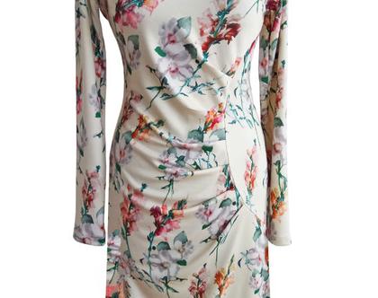 שמלה אסימטרית חורפית פרחונית