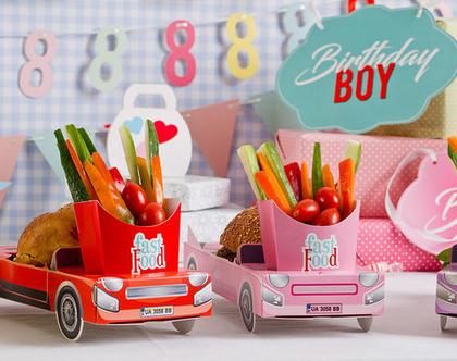 6 מכוניות תלת מימד להגשה   יום הולדת   מסיבות   כלי הגשה   חד פעמי מעוצב   עיצוב שולחן יום הולדת