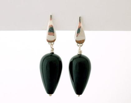 עגילי כסף תלוים עם אוניקס, עגילי טיפה עם אבן שחורה, עגילים שחורים, עגילי אוניקס טיפה,אבן אוניקס, תכשיטים בעבודת יד