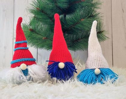 סט של 3 גמדים ,חג המולד,כריסמס,נובי גוד,בובה סרוגה