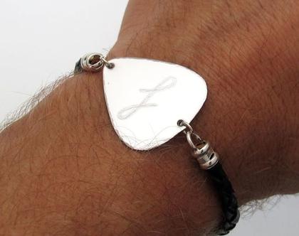 צמיד מפרט גיטרה - מתנות למוזיקאים - מתנה שקשורה לגיטרה - מתנה מיחדת לגיטריסט - צמיד לגבר מעור - מתנות לאוהבי מוזיקה - צמידים לגברים