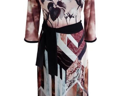 שמלת משולבת הדפסים פרחונית