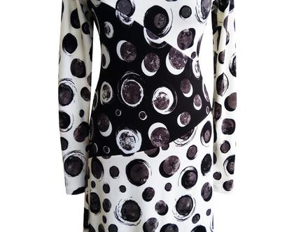 שמלה חורפית נקודות שחור לבן