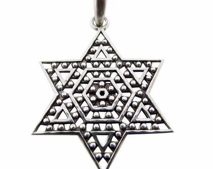 """תכשיט מעוצב מגן דוד ציפ ננו בייבל - Nano Bible (התנ""""ך הקטן ביותר בעולם )"""