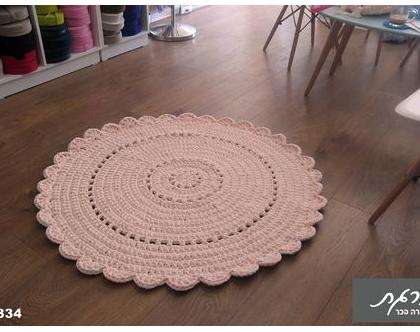 שטיח סרוג קוטר 1.10 מ'/שטיחים סרוגים/שטיח עגול/שטיח לחדר ילדים/שטיח סרוג בחוטי טריקו