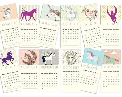 לוח שנה חד קרן 2020 | לוח שנה בעיצוב אישי | 12 לוחות שנה ממותגים