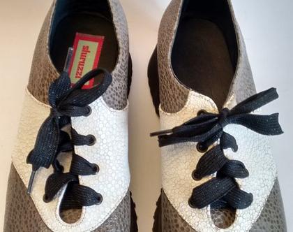 נעליים מעוצבות SHIRUZZI מעור לאישה באפור ולבן | נעליים מעור בשני צבעים מידה 39