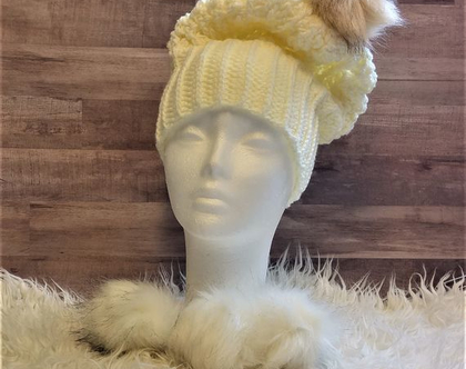 כובע סרוג לאשה פונפון, אוברסייז