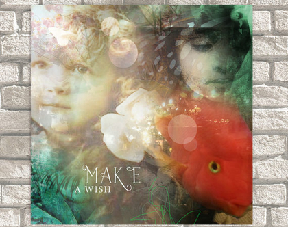 Make A Wish | ילדים ודג | אווירה חלומית | תמונה יפהפיה ומיוחדת | קנבס ממוסגר לתליה | תמונה לקיר | סטיילינג לבית | קולאז' דיגיטלי