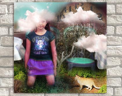 TIME | ילדה ועננים | קנבס ממוסגר לתליה | תמונה מיוחדת לבית | תמונה לקיר | תמונות מקוריות | סטיילינג לבית | קולאז' דיגיטלי