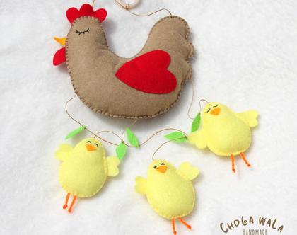 מובייל בעבודת יד תרנגולת ואפרוחים