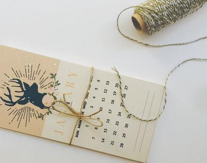 לוח שנה אישי 2020 | לוח שנה דגם איילים | מודפס על קרטון ממוחזר אנגורה 250 גר׳