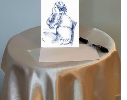 אישה בכחול יושבת - גלויה מודפסת (מס' 6)