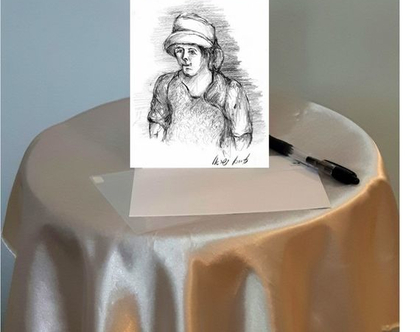 אישה עם כובע- גלויה מודפסת (מס' 9) - רישום בעיפרון