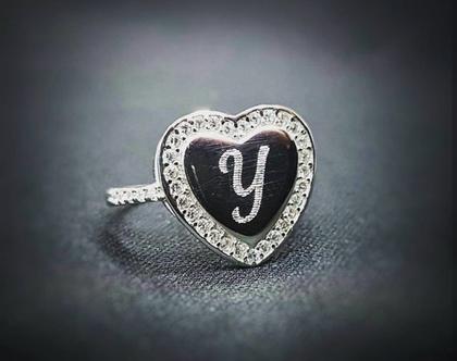 טבעת לב-טבעת לב חרוט-חריטה אישית