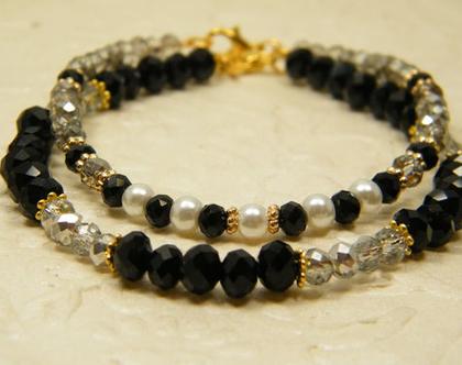 צמידי קריסטלים לאישה | צמיד אבנים שקופות ושחורות | צמיד לאירוע | צמיד עם פנינים | מתנה לאישה
