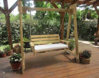 ספסל נדנדה מעץ מלא 1.20