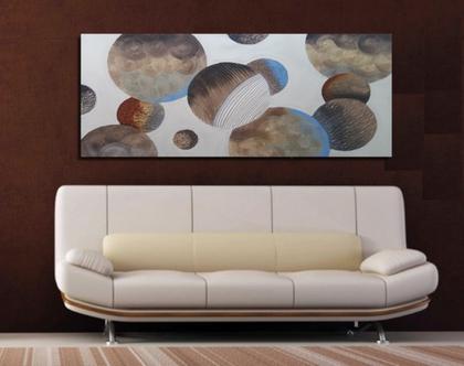 """""""חמרה"""" - ציור יחודית של גלקסיה בעבודת יד בשילוב משחות עיצוב וטקסטורות מובלטות בגוונים חומים ותורקיז"""