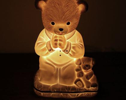 מנורת דובי וינטאג׳ עשויה פורצלן, מנורת לילה לילד