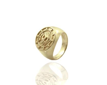 טבעת חותם טבעת קולג' לגבר בעיצוב אישי