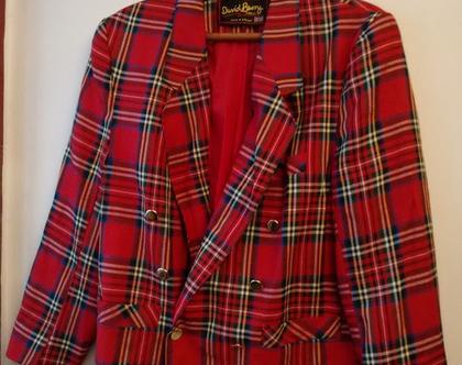 ג'קט אדום משובץ DAVID BARRY LONDON לגבר / לאישה בסגנון סקוטי 20% הנחה | ג'קט מעוצב יוניסקס מלונדון אנגלייה מידה L