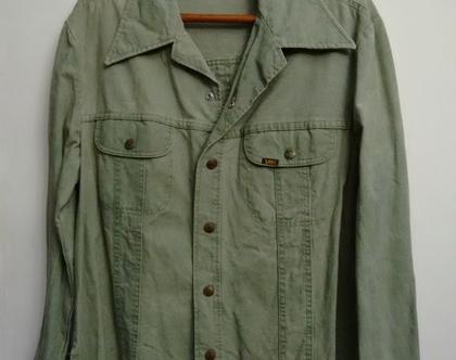 חולצה/ג'קט ג'ינס LEE | ג'קט ג'ינס לי ירוק בהיר לגבר / אישה מידה L XL