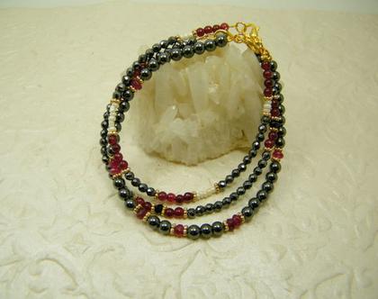 סט 3 צמידים | צמידים לאישה | צמידי אבני חן | צמיד אבני אמטייט ופנינים | צמידים בכסוף אדום ולבן