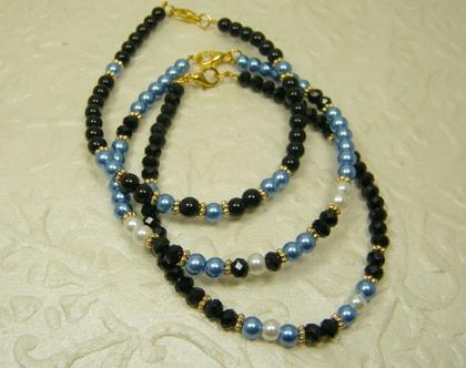 צמידי קריסטלים לאישה | צמיד שחור וכחול | צמידים לאירוע | סט צמידים לאישה | צמידי פנינים