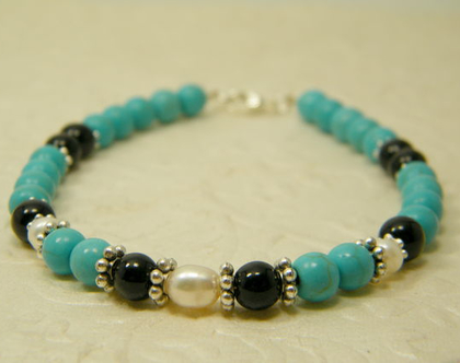 צמיד טורקיז | צמיד אבני חן | צמיד אוניקס ופנינים | צמיד אבנים כחולות | צמיד לאישה ולגבר